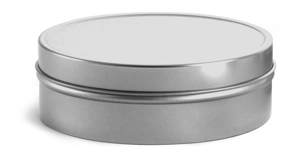 8 oz Flat Metal Tins w/ Rolled Edge Covers