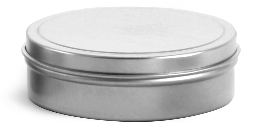 3 oz * Flat Metal Tins w/ Rolled Edge Covers