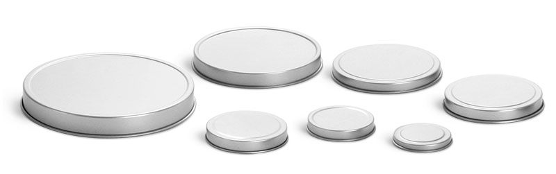 1 oz Rolled Edge Covers for Flat Metal Tins (Bulk, No Bottoms)