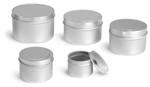Metal Containers, Deep Metal Tins w/ Rolled Edge Covers