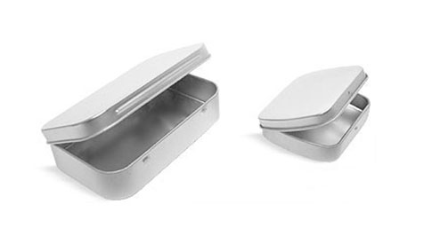 Metal Containers, Hinge Top Metal Tins