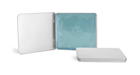 metal tins square metal hinged tins w transparent blue cd inserts