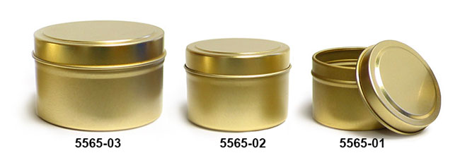 Metal Tins, Gold Metal Tins w/ Rolled Edge Covers