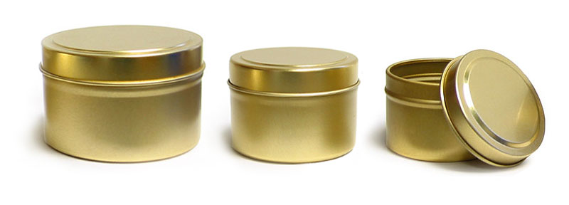 Metal Containers, Gold Metal Tins w/ Rolled Edge Covers