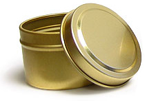 2 oz Gold Metal Tins, Gold Metal Tins w/ Rolled Edge Covers