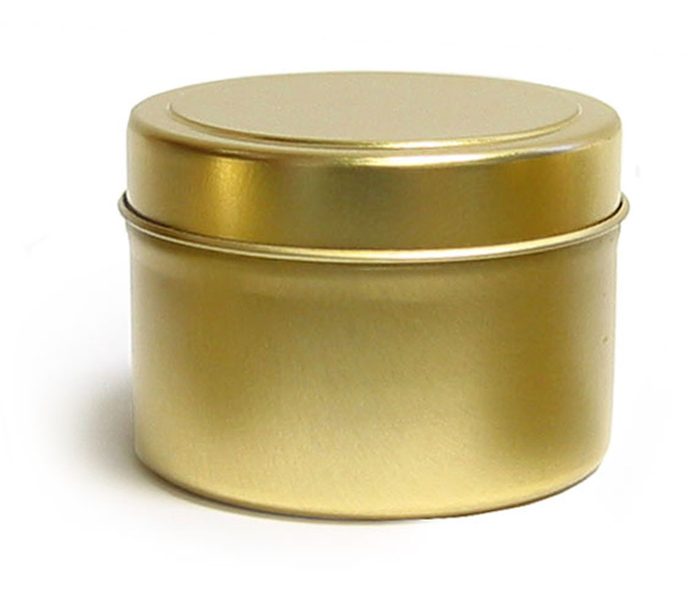 4 oz Gold Metal Tins, Gold Metal Tins w/ Rolled Edge Covers