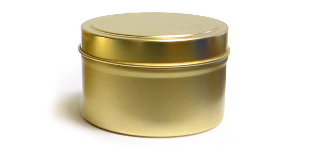 Gold Metal Tins, Gold Metal Tins w/ Rolled Edge Covers
