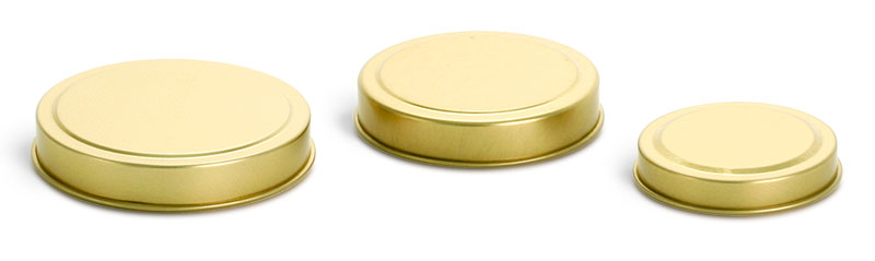 4 oz Gold Metal Tin Covers