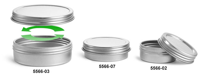 Metal Tins, Silver Metal Twist Top Tins w/ Continuous Thread