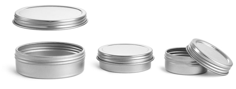 Metal Containers, Silver Metal Twist Top Tins w/ Continuous Thread