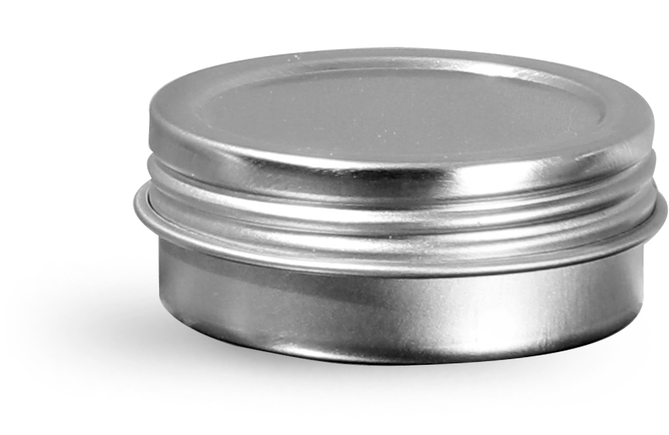 1/2 oz Silver Metal Twist Top Tins w/ Continuous Thread
