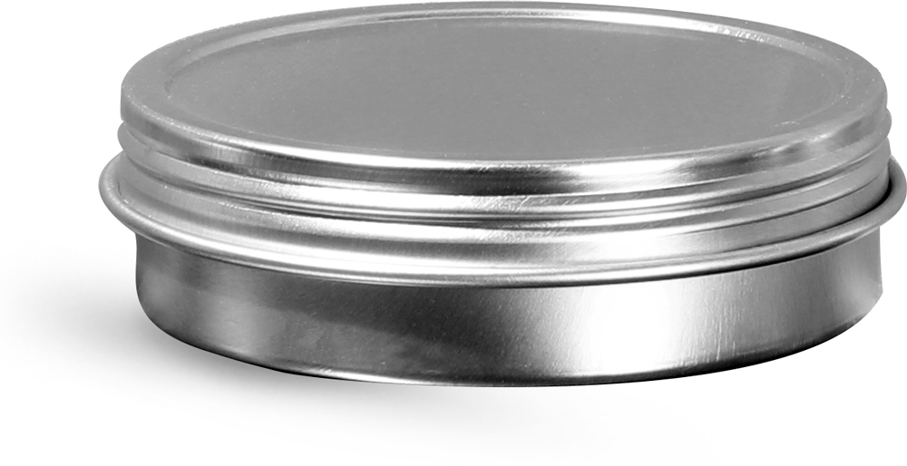 2 oz Silver Metal Twist Top Tins w/ Continuous Thread