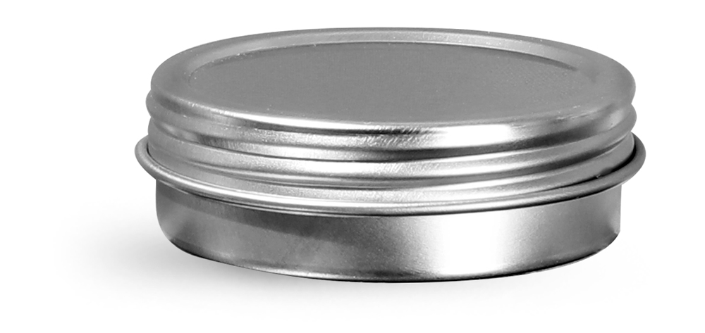 1 oz Silver Metal Twist Top Tins w/ Continuous Thread