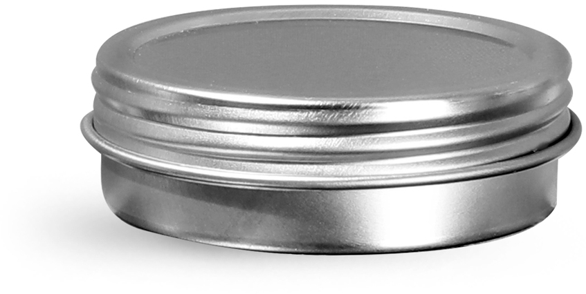 Silver Metal Twist Top Tins w/ Continuous Thread