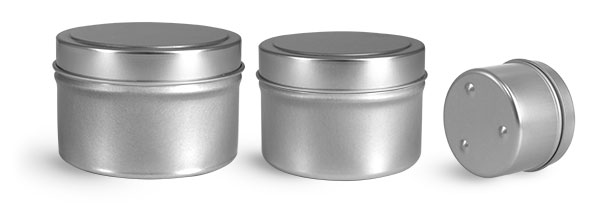 Metal Containers, Footed Candle Tins w/ Rolled Edge Covers