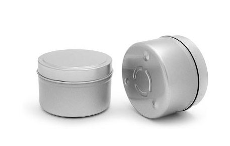Metal Tins, 6 oz Footed Candle Tin w/ Rolled Edge Cover