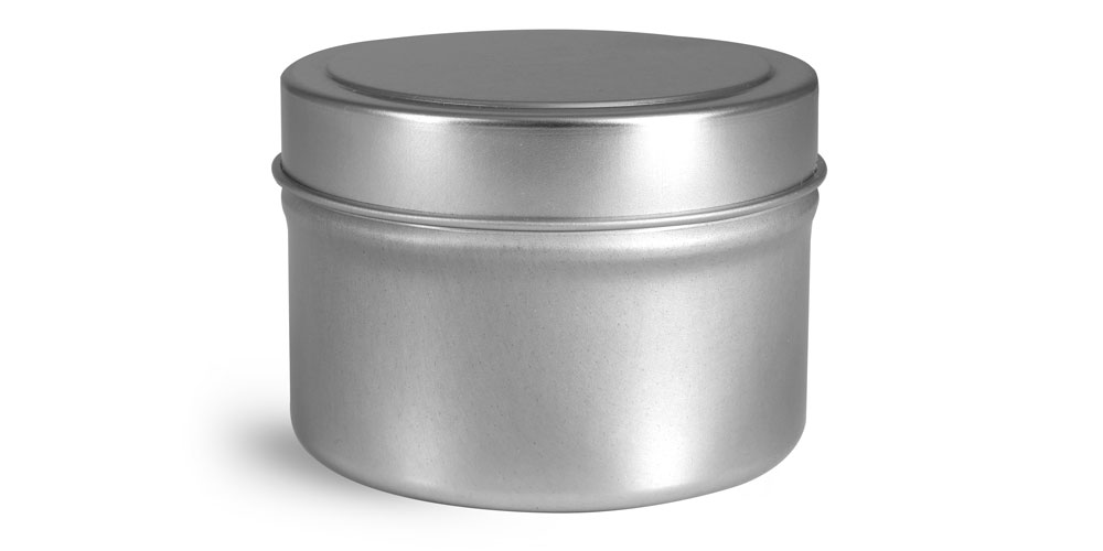 4 oz Metal Containers, Footed Candle Tins w/ Rolled Edge Covers