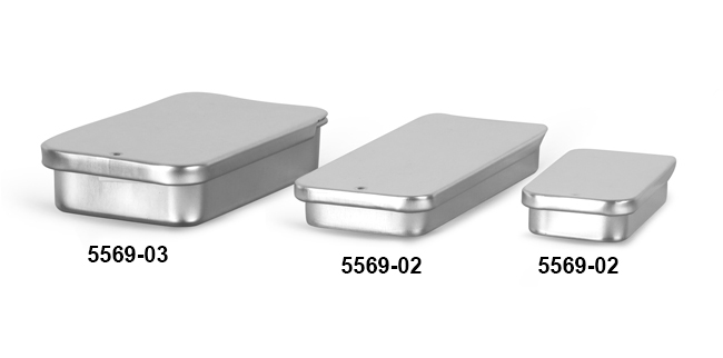 Metal Containers, Slide Top Metal Tins