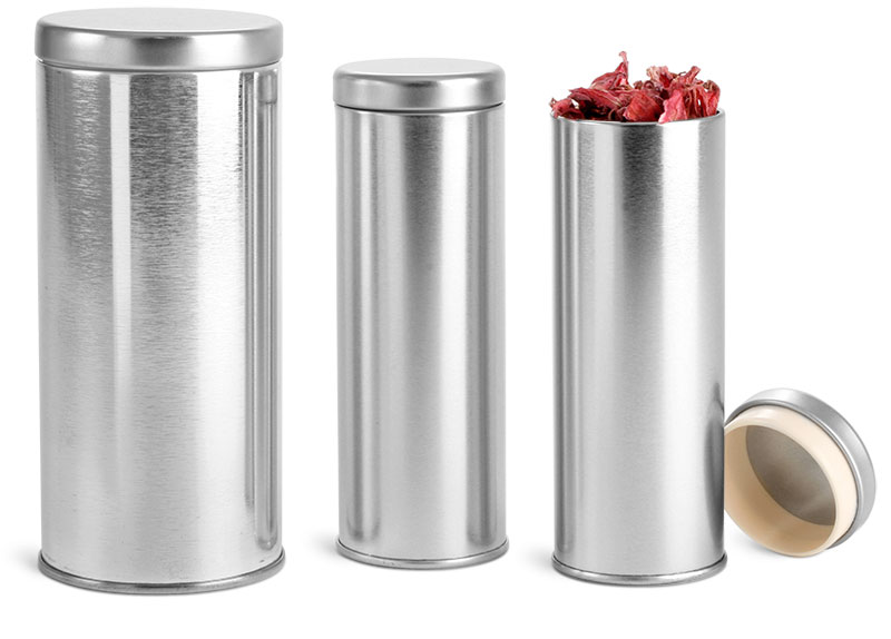 Silver Metal Tea Tins w/ Metal Interior Seal Lids'