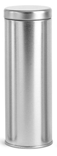 8 oz Silver Metal Tea Tins w/ Metal Interior Seal Lids