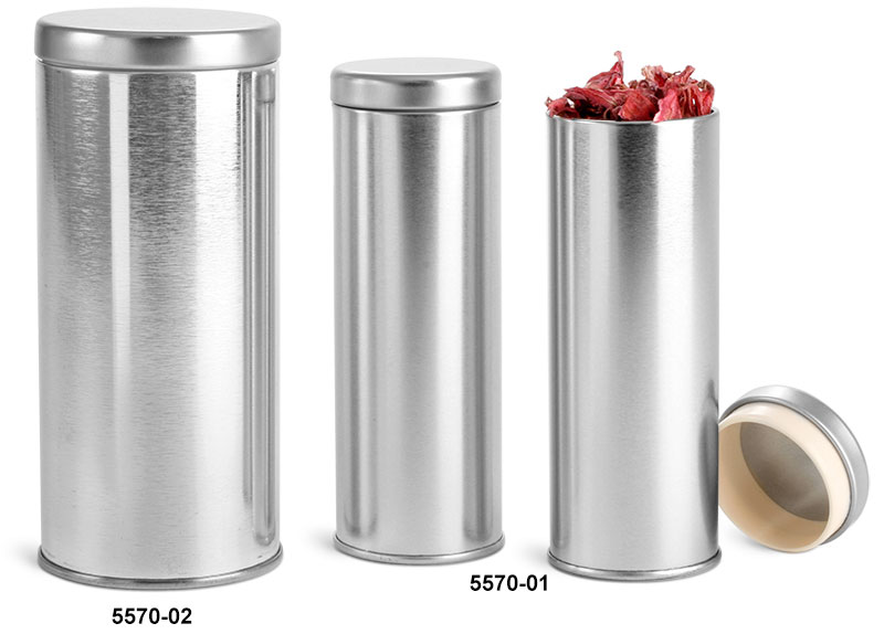 Metal Tins, Silver Metal Tea Tins w/ Metal Interior Seal Lids