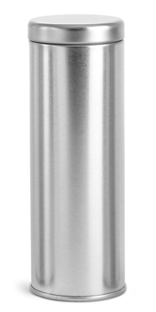 16 oz Silver Metal Tea Tins w/ Metal Interior Seal Lids