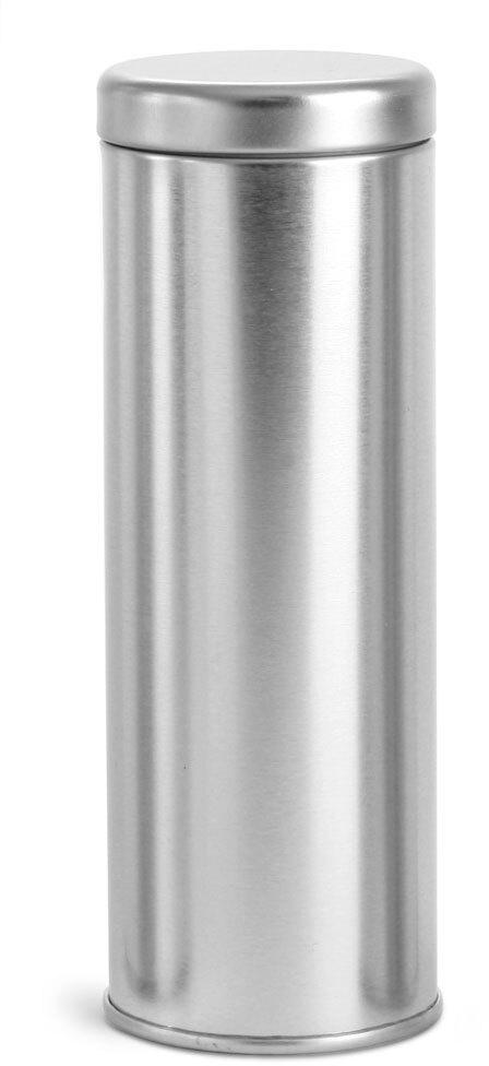 Silver Metal Tea Tins w/ Metal Interior Seal Lids