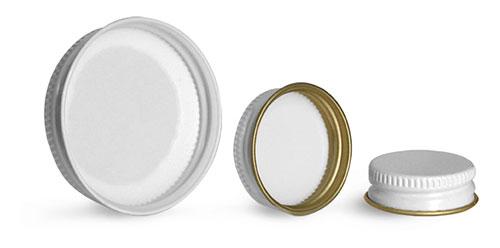 Metal Caps, White Metal Plastisol Lined Caps