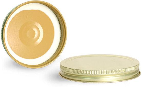 Metal Caps, Gold Metal Plastisol Lined Caps