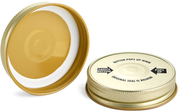Gold Metal Printed Plastisol Lined Caps w/ Button