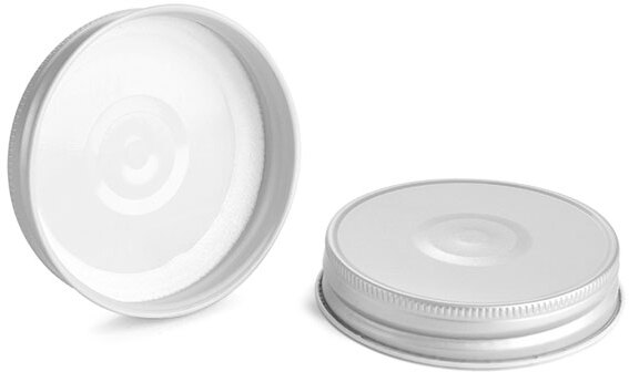 Metal Caps, Silver Metal Plastisol Lined Caps w/ Button