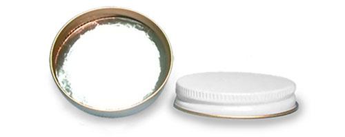 Metal Caps, White Metal Foil Lined Caps
