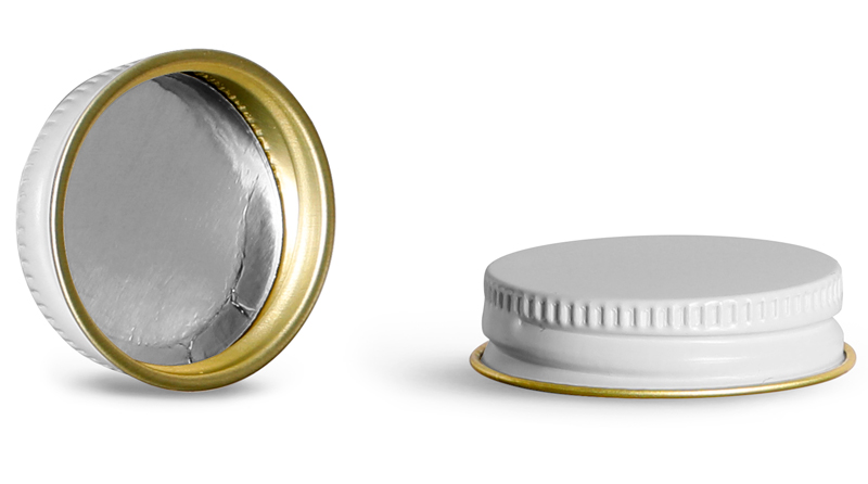 White Metal Foil Lined Caps (Bulk)
