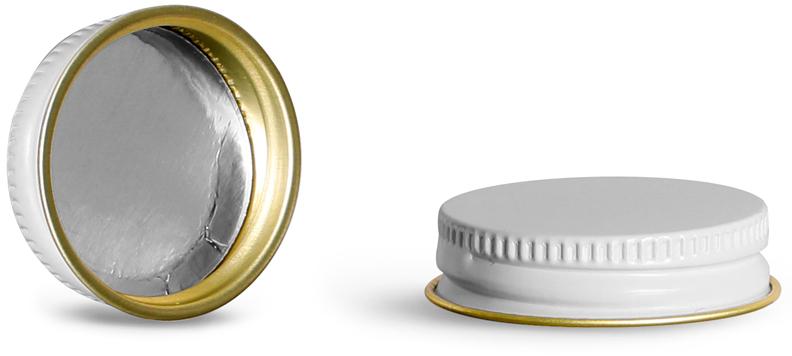 White Metal Foil Lined Caps (Bulk)