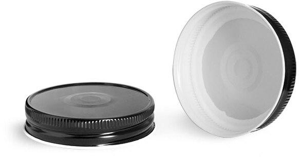 Metal Caps, 70G Black Metal Plastisol Lined Caps w/ Button