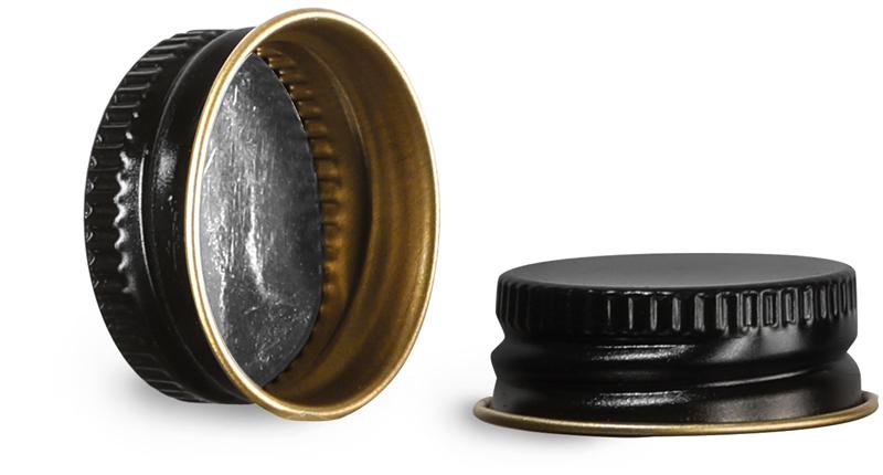 22/400  Metal Caps, Black Metal Foil Lined Caps