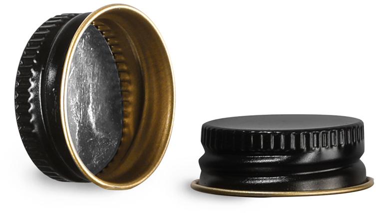 Metal Caps, Black Metal Foil Lined Caps