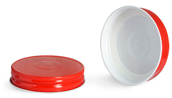 70G Metal Caps, 70G Red Metal Plastisol Lined Caps w/ Button