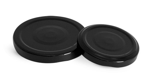 Metal Caps, Black Metal Plastisol Lined Lug Caps