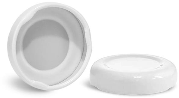 Metal Caps, White Metal Plastisol Lined Lug Caps