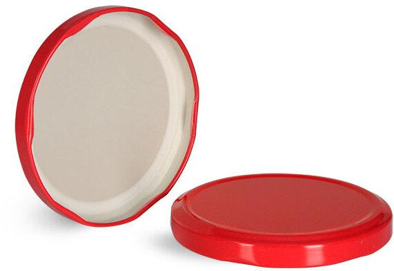 Metal Caps, Red Metal Plastisol Lined Lug Caps