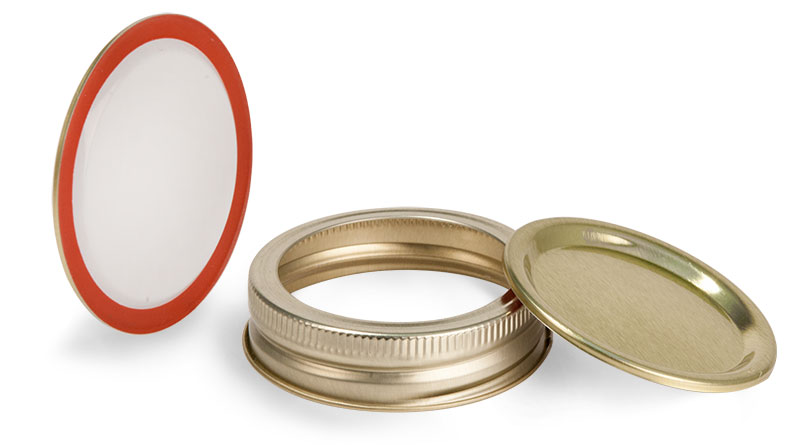 70 mm, Lid and Band Metal Caps, Gold Plastisol Lined Canning Lids and Bands