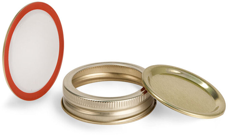 Metal Caps, Gold Plastisol Lined Canning Bands