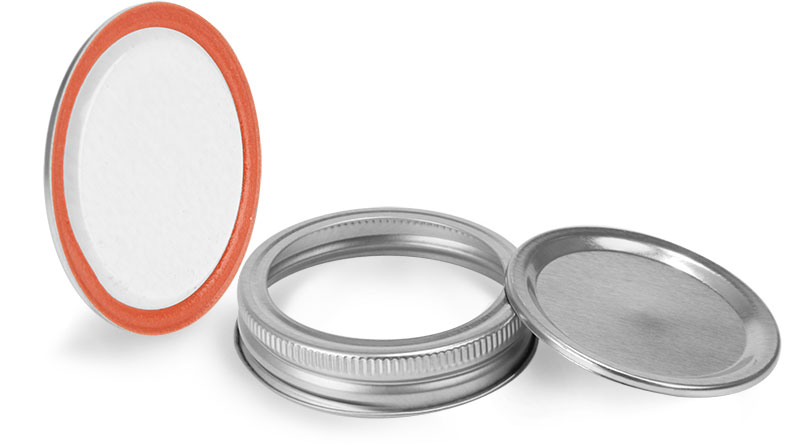 70 mm, Lid and Band Metal Caps, Silver Plastisol Lined Canning Lids and Bands