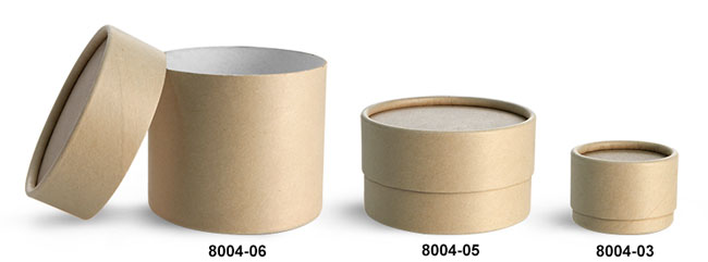 Paperboard Packaging, Brown Paperboard Jars w/ Flush Fit Caps