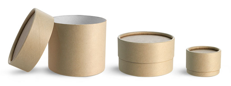 Paperboard Packaging, Brown Paperboard Jars w/ Flush Fit Lids