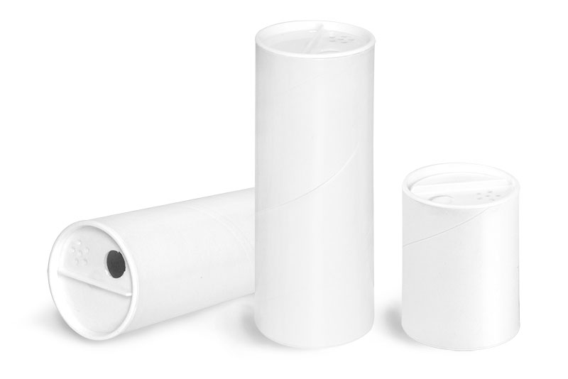 Paperboard Packaging, White Paperboard Powder Tubes w/ White Sifter Caps