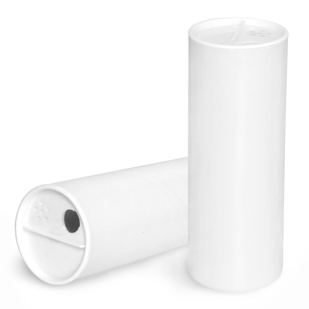 4 oz Paperboard Containers, White Paperboard Powder Tubes w/ White Sifter Caps