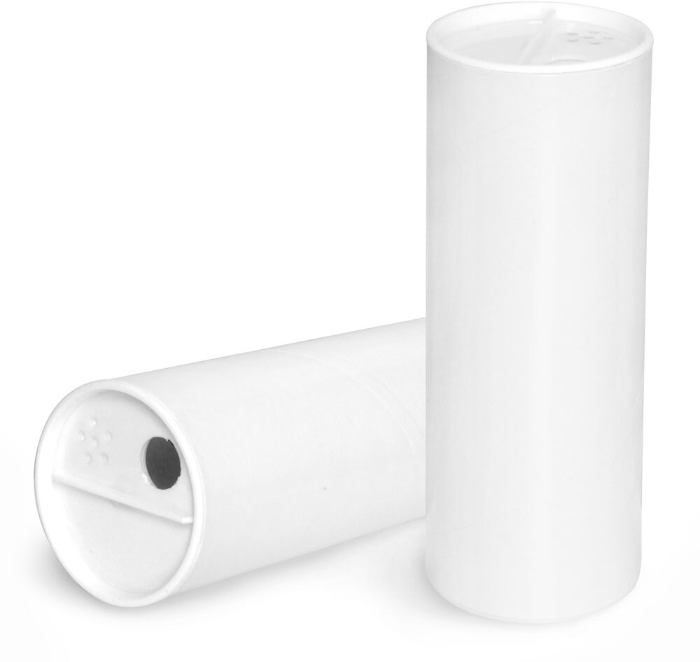 Paperboard Containers, White Paperboard Powder Tubes w/ White Sifter Caps