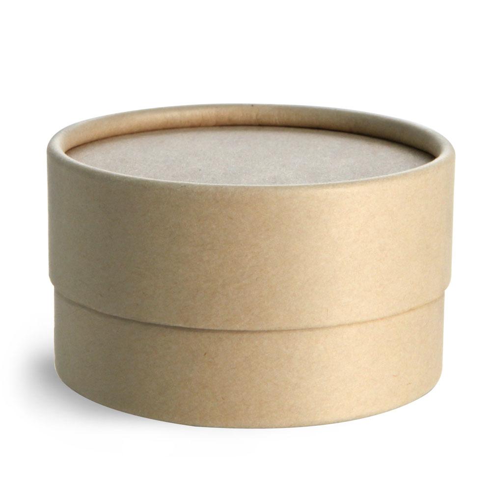 4 oz Brown Paperboard Jars w/ Flush Fit Lids